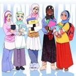 foto gambar kartun muslimah comel lucu