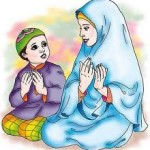 gambar kartun muslimah berdoa bersama anak