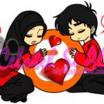 gambar kartun muslimah lucu pasangan