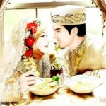 gambar kartun muslimah nikah romantis