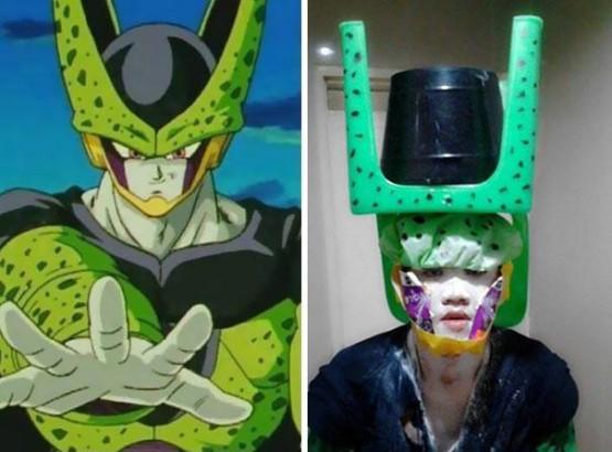foto cosplay dragon ball karakter cell lucu