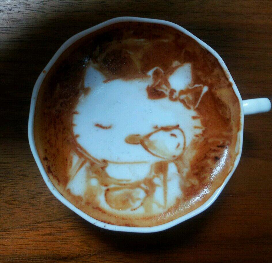 gambar kartun unik seni 3D latte
