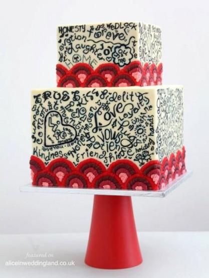 gambar kue ulang tahun love romantis