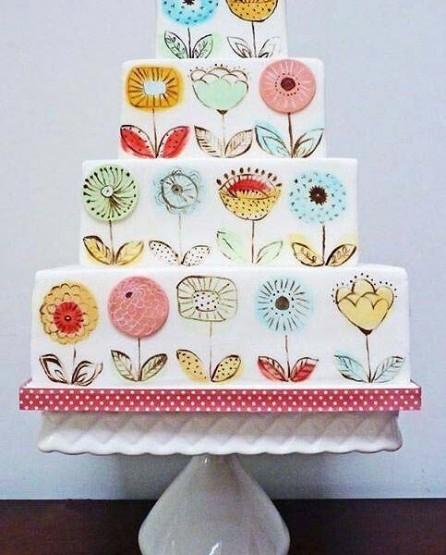 gambar kue ulang tahun motif bunga