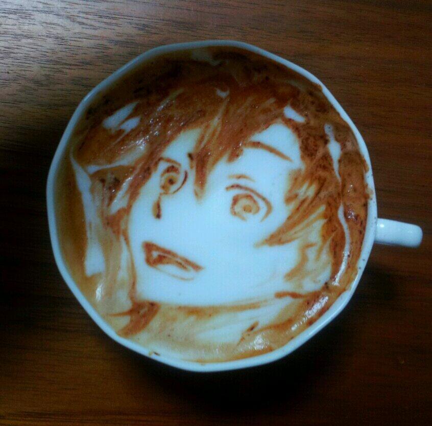 gambar unik kartun 3D pada kopi