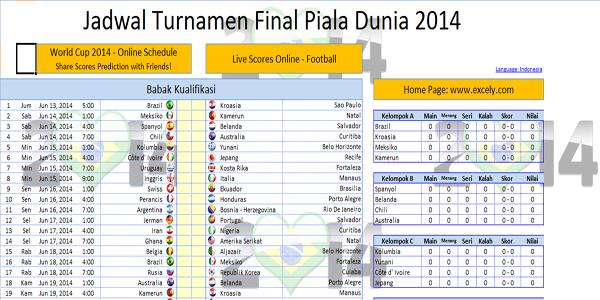 Jadwal Turnamen Piala Dunia 2014