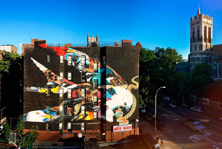 Mural-Mural Keren Ini Memuat Gambar-Gambar Burung yang Hampir Punah