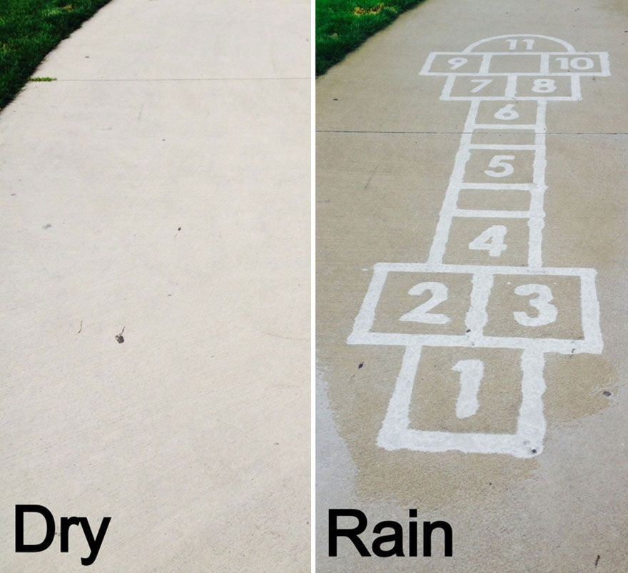 Lukisan di atas Aspal Ini Hanya Bisa Terlihat Kalau Kena Air Hujan, Keren!
