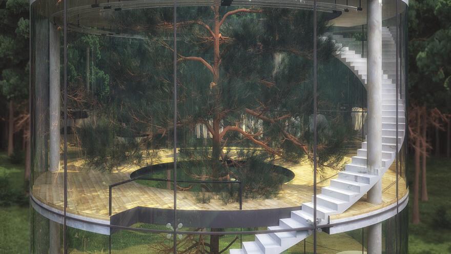 Keren, Rumah Kaca Melingkar di Tengah Hutan!